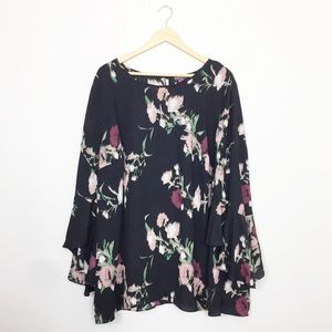 Vince Camuto | Black Floral Bell Sleeve Blouse 3X